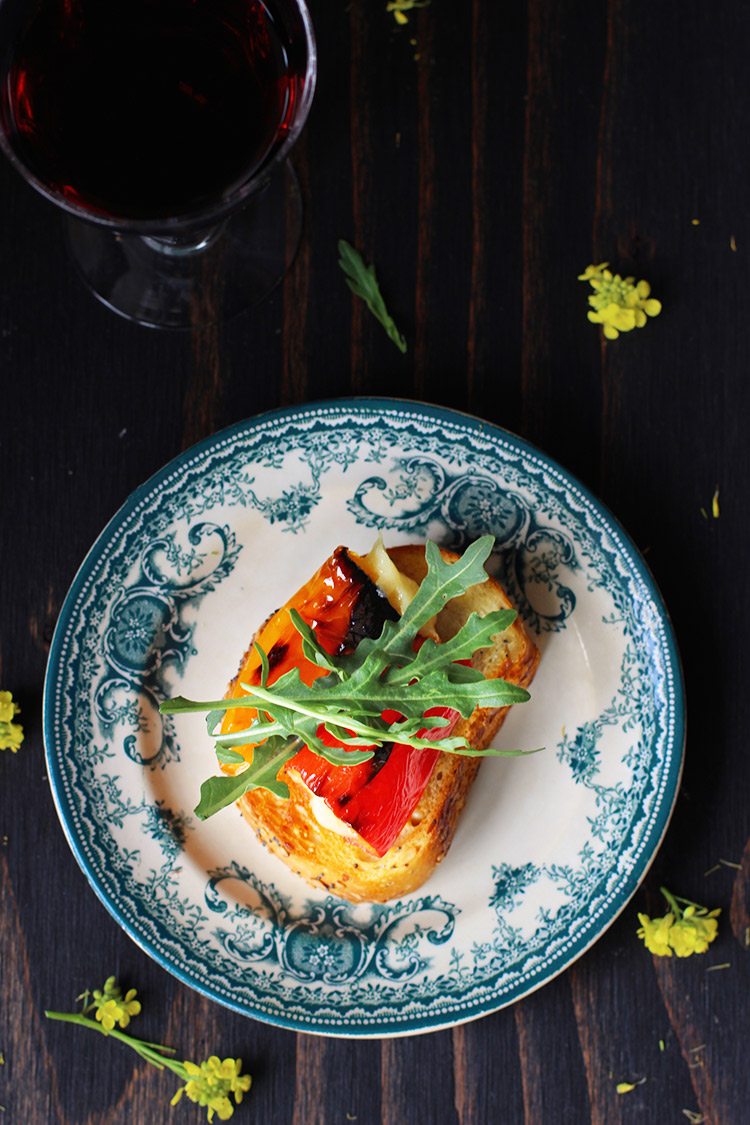 Manchego Stuffed Roasted Mini Bell Peppers Crostini