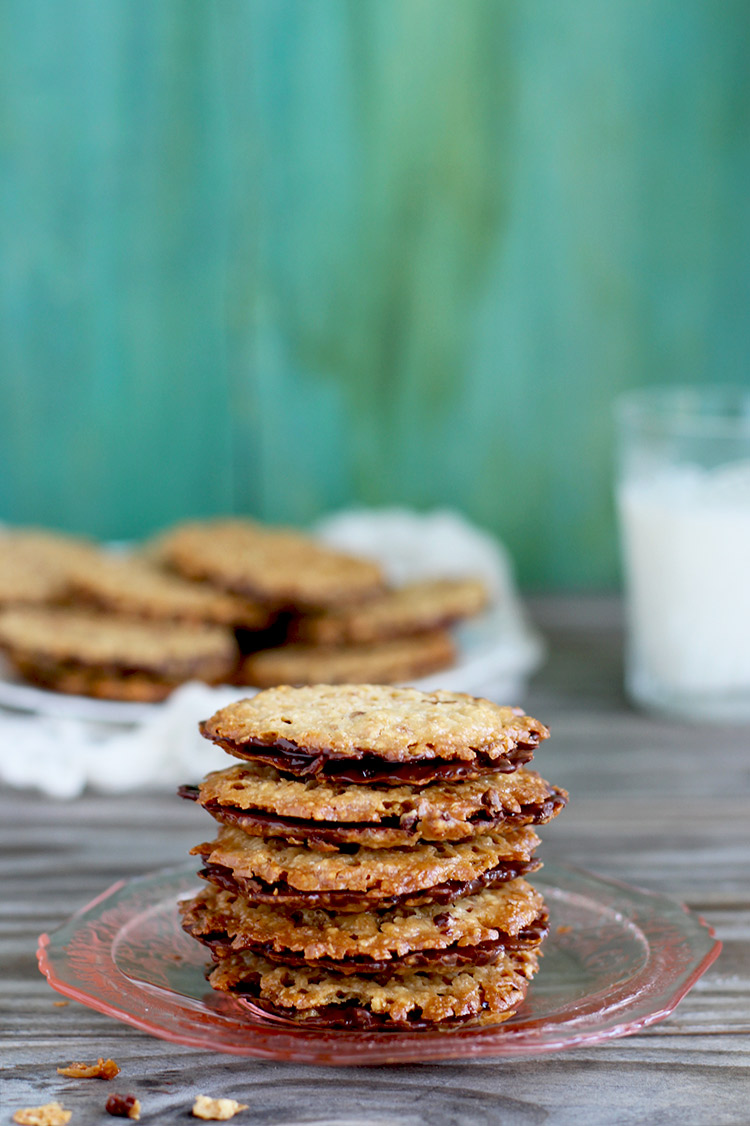 Dark Chocolate Hazelnut Florentine Cookies