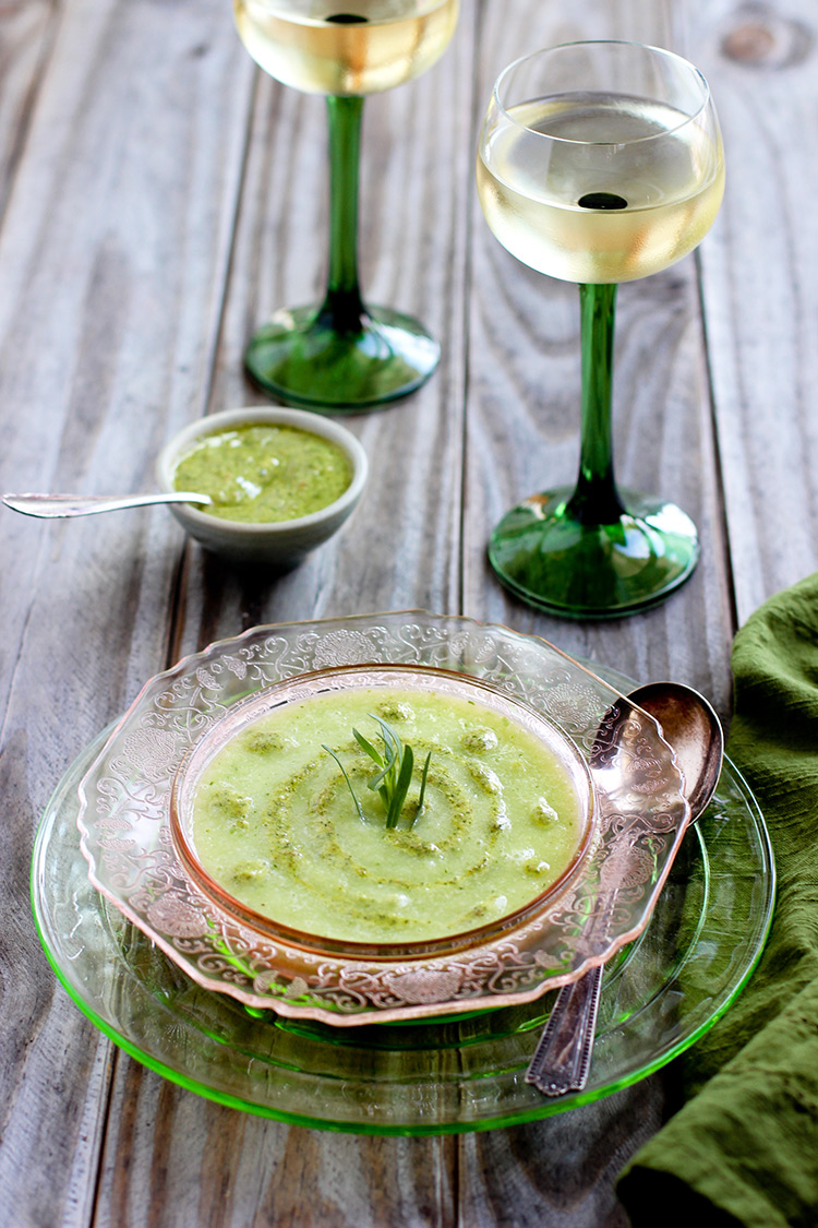 Honeydew-Gazpacho-with-Mint-Chèvre-Pesto