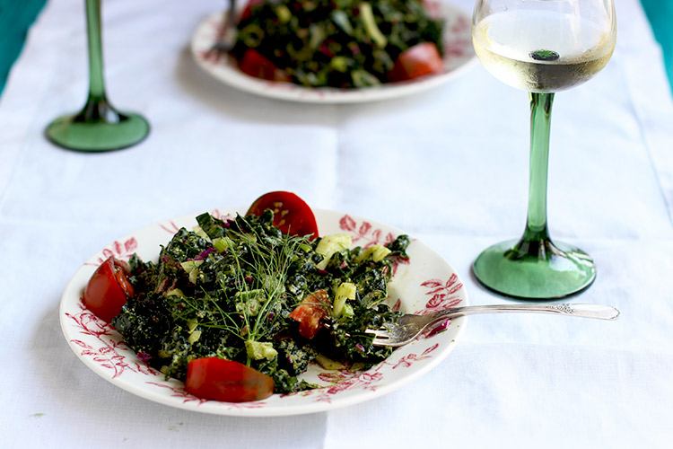 Kale Fennel Salad with Lemon Basil Pesto Vinaigrette