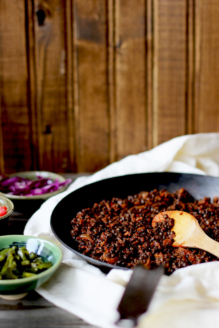 Spicy Black Lentil Tacos with Ancho Crema ⋆