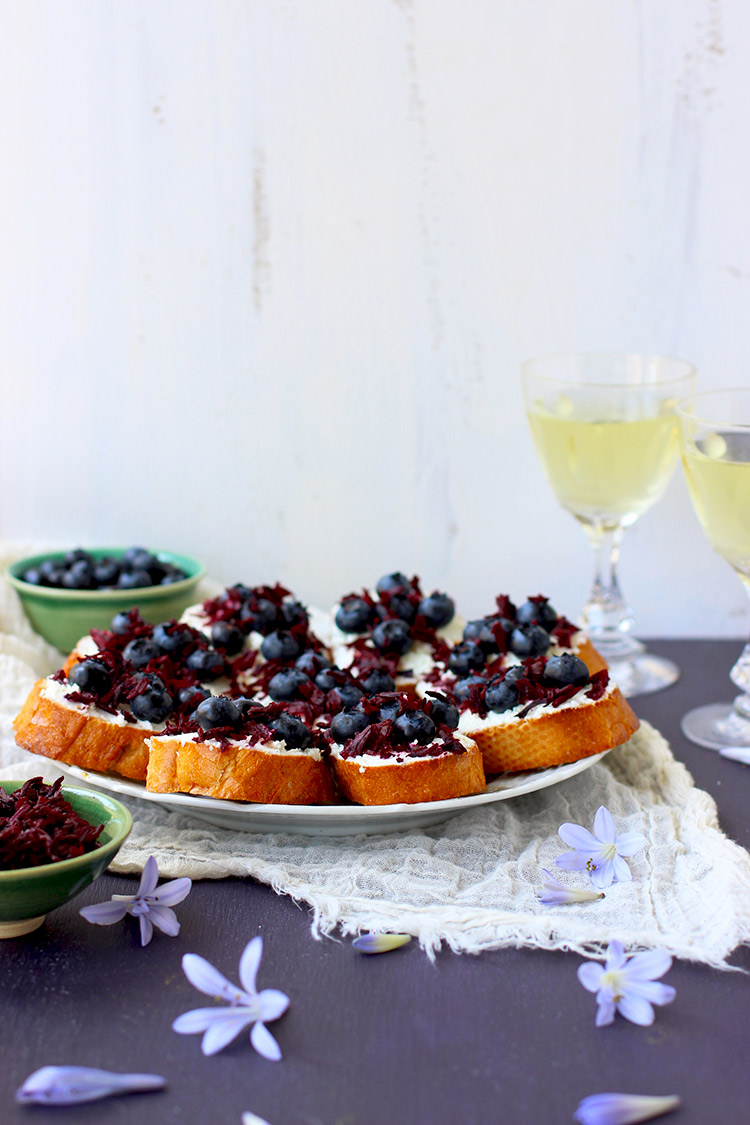 Blueberry Chevre Crostini