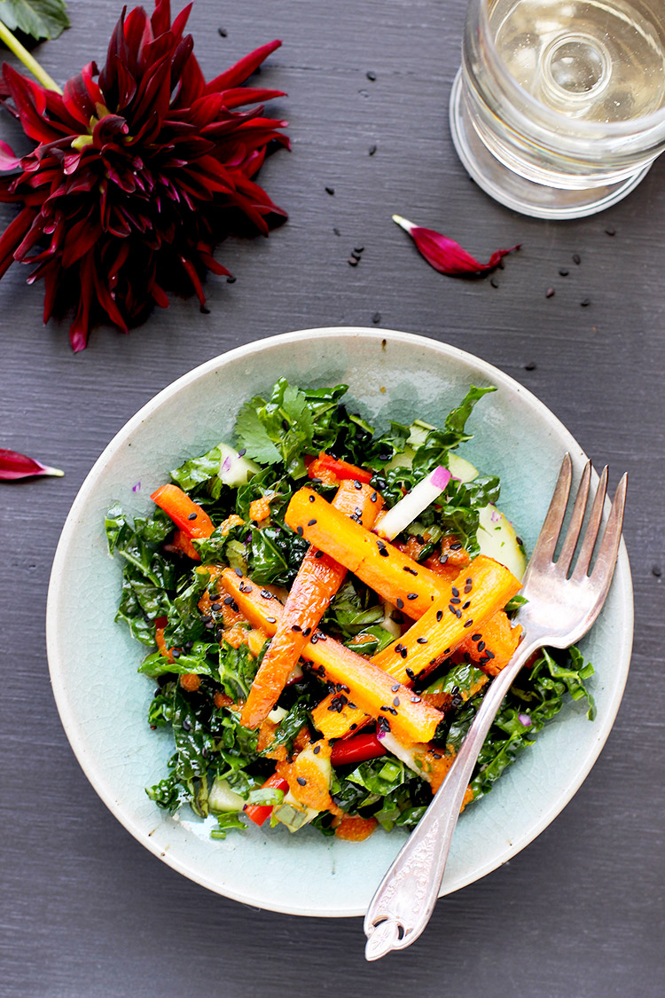 Kale-and-Sesame-Roasted-Carrot-Salad