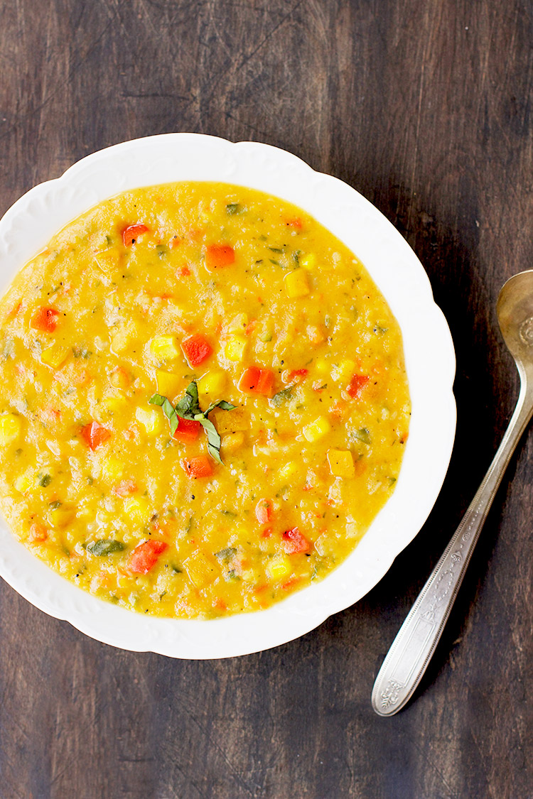 Yellow Split Pea Basil Soup with Roasted Red and Yellow Peppers