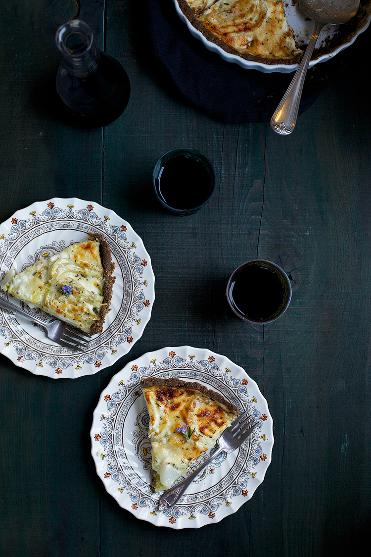 Roasted Fennel Potato Gruyere Tart