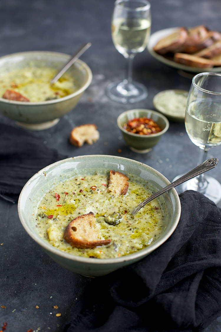 Charred Broccoli Cheddar Potato Soup